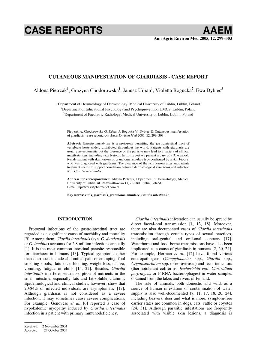 giardiasis dermatitis)