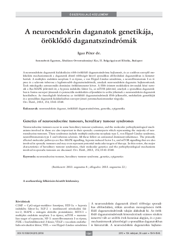 Neuroendokrin daganatok   Dr. Tóth Miklós