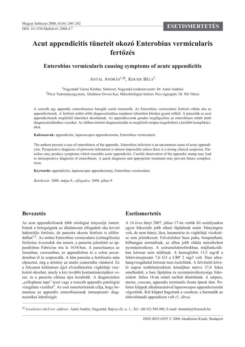 enterobius vermicularis fertozes